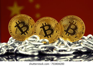 Physical version of Bitcoin (new virtual money), chain and China Flag.