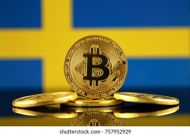 Physical version of Bitcoin (new virtual money) and Sweden Flag. Conceptual image for investors in cryptocurrency and Blockchain Technology in Sweden.