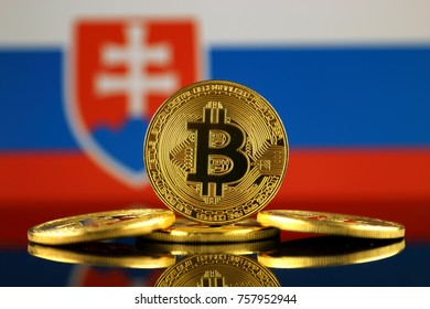 Physical version of Bitcoin (new virtual money) and Slovakia Flag. Conceptual image for investors in cryptocurrency and Blockchain Technology in Slovakia.