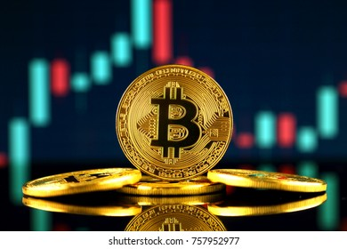 Physical version of Bitcoin (new virtual money). Conceptual image for investors in cryptocurrency and Blockchain Technology.