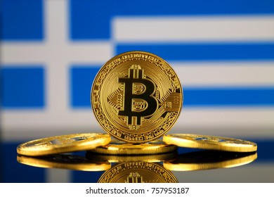Physical version of Bitcoin (new virtual money) and Greece Flag. Conceptual image for investors in cryptocurrency and Blockchain Technology in Greece.