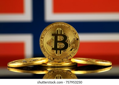 Physical version of Bitcoin (new virtual money) and Norway Flag. Conceptual image for investors in cryptocurrency and Blockchain Technology in Norway.
