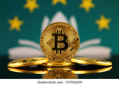 Physical version of Bitcoin (new virtual money) and Macau Flag. Conceptual image for investors in cryptocurrency and Blockchain Technology in Macau.