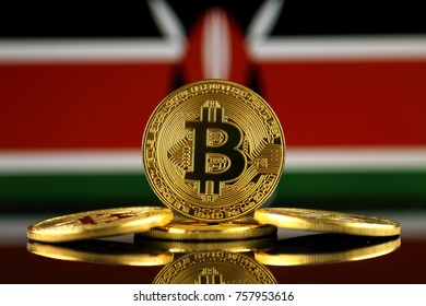 Physical version of Bitcoin (new virtual money) and Kenya Flag. Conceptual image for investors in cryptocurrency and Blockchain Technology in Kenya.