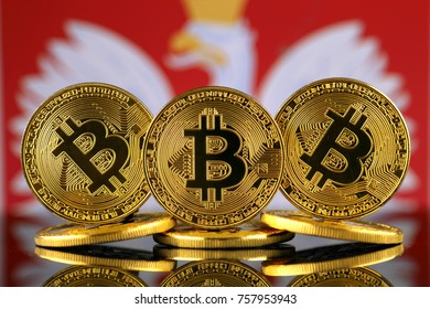Physical version of Bitcoin (new virtual money) and Poland Flag. Conceptual image for investors in cryptocurrency and Blockchain Technology in Poland.
