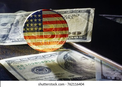Physical version of bitcoin new virtual money usa and uk flag conceptual image for investors
