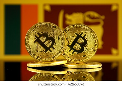 Physical version of Bitcoin and Sri Lanka Flag. Close up.