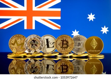 Physical version of Cryptocurrencies (Monero, Ripple, Litecoin, Bitcoin, Dash, Ethereum) and Australia Flag.