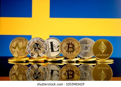 Physical version of Cryptocurrencies (Monero, Ripple, Litecoin, Bitcoin, Dash, Ethereum) and Sweden Flag.