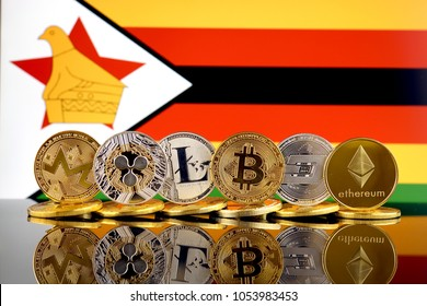 Physical version of Cryptocurrencies (Monero, Ripple, Litecoin, Bitcoin, Dash, Ethereum) and Zimbabwe Flag.