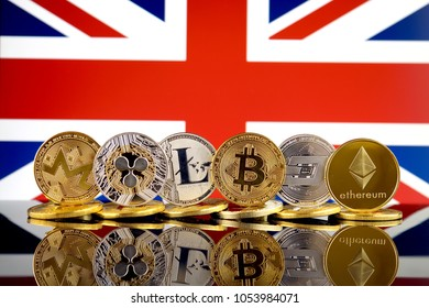 Physical version of Cryptocurrencies (Monero, Ripple, Litecoin, Bitcoin, Dash, Ethereum) and United Kingdom Flag.