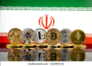 Physical version of Cryptocurrencies (Monero, Ripple, Litecoin, Bitcoin, Dash, Ethereum) and Iran Flag.