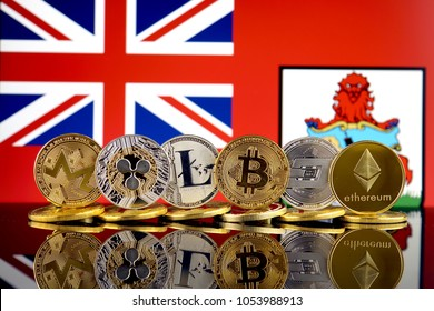 Physical version of Cryptocurrencies (Monero, Ripple, Litecoin, Bitcoin, Dash, Ethereum) and Bermuda Flag.