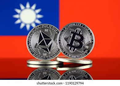 Physical version of Ethereum (ETH), Bitcoin (BTC) and Taiwan Flag. 2 largest cryptocurrencies in terms of market capitalization.