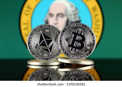 Physical version of Ethereum (ETH), Bitcoin (BTC) and Washington State Flag. 2 largest cryptocurrencies in terms of market capitalization.