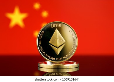 Physical version of Ethereum (ETH), new virtual money and China Flag. Conceptual image for worldwide cryptocurrency and digital payment system. Studio shot.