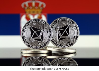 Physical version of Ethereum (ETH) and Serbia Flag. Conceptual image for investors in cryptocurrency, Blockchain Technology, Smart Contracts, Personal Tokens and Initial Coin Offering.