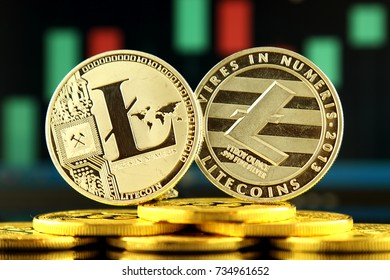 Physical version of Litecoin, new virtual money. Conceptual image for worldwide cryptocurrency and digital payment system called the first decentralized digital currency.