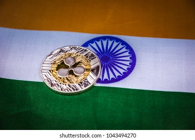 Physical version of Ripple coin (new virtual money) and India Flag