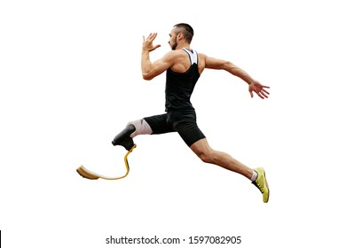 physically disabled athlete with prosthetic legs long jump in athletics