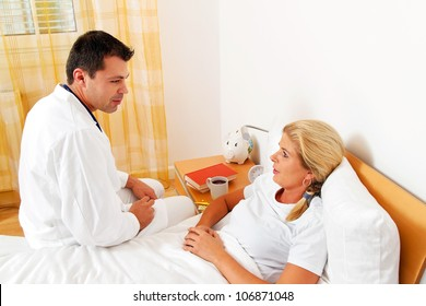 a physician house call. examines sick wife.