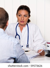 Physician in medical practice with patients. Conversation and advice of the treatment.