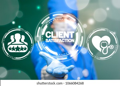 Physician offers client satisfaction text icon on a virtual interface. Client Satisfaction Medicine concept. Feedback Assessment Evaluation Patient Care Healthcare Hospital Technology.