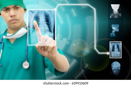 A physician, surgeon ,doctor is using innovative technologies, touching a holographic panel for monitoring patient ,Innovative technologies in science and medicine concept