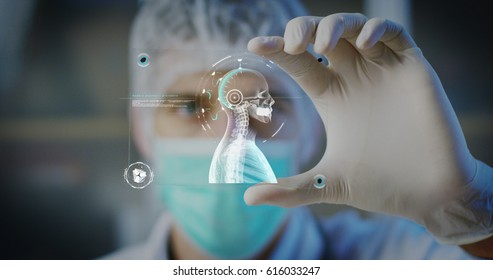 A physician, surgeon, examines a technological digital holographic plate represented the patient's body, the heart lungs, muscles, bones. Concept: Futuristic medicine, world assistance, and the future