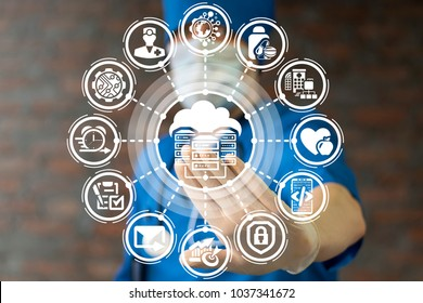 Physician using virtual touchscreen pressing cloud servers network data center button. Web Server Big Data Room Integrate in Health Care System Hospital.