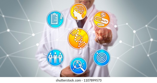 Physician utilizing genome sequencing and artificial intelligence to determine personalized, specific treatment to patients. Health concept for pharmacogenomics, specialty drugs, genome sequencing.
