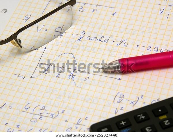 Physics Math Exam Study Set Hand Stock Photo (Edit Now