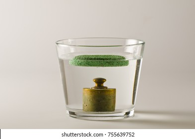 Physics. A pumice floats in water and  a antique weight sinks. Archimedes Principle.