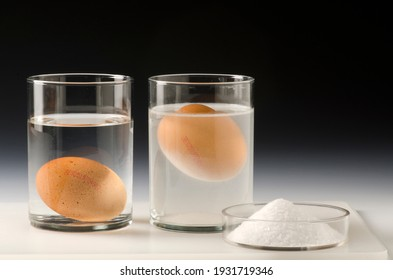 Physics. Water density science experiment. Egg floating in salt water.Black background.