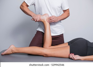 Physiotherapy spa leg massage.