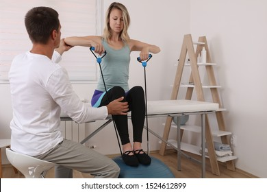 Physiotherapy, Sport Injury rehabilitation of athlete female patient.Kinesiology treatment
