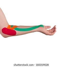 Physiotherapy treatment with therapeutic tape for elbow pain, aches and tension. It is also used for prevention and treatment in competitive sports.