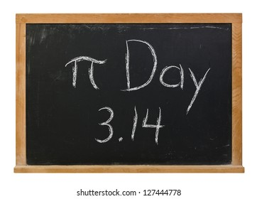Pi Day written in white chalk on a black chalkboard isolated on white