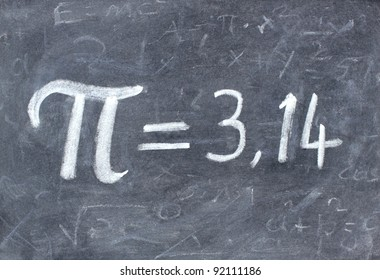 Pi number  3,14 handwritten with chalk on a blackboard