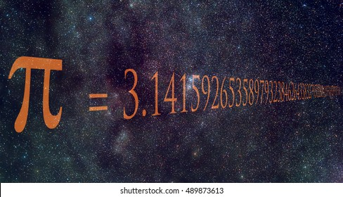 Pi number is a mathematical constant whose value is the ratio of any circle's circumference to its diameter. It's value is written over Milky Way image.