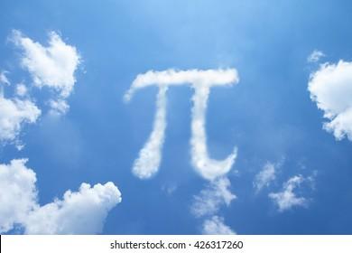 Pi symbol clouds shape.
