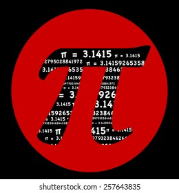Pi symbol with the sum formula Pi equals � 3.1415 repeated as typography inside the symbol with a red circle. Pi Day of the century 3.14.15 math, education, engineering, school and teaching concepts.