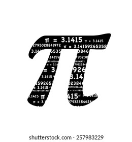 Pi symbol with the sum formula Pi equals 3.1415 inside the symbol to celebrate Pi Day of the century on 3.14.15 and for general math, science, education, engineering, and school concepts.