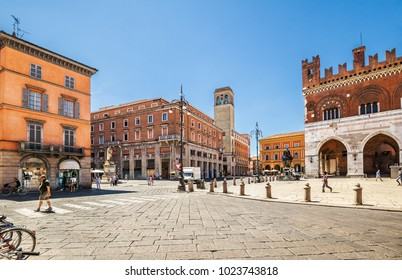 Piacenza, Italy - July 15, 2016: Square Cavalli in Piacenza. The area owes its current name to two bronze equestrian statues of Ranuccio and Alessandro FarneseItaly