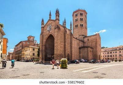 Piacenza, Italy - July 15, 2016: Basilica di Sant'Antonino in Piacenza. Piacenza, Italy