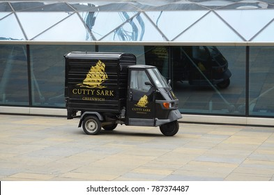 Piaggio 3-Wheeler - Greenwich, Great Britain - 08/04/2015 - advertising for the museum ship Cutty Sark