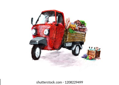 Piaggio ape loaded with fresh produce of vegetables, fruits, food and beverages, Italian, red piaggio ape illustration
