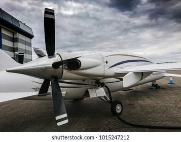 Piaggio P180 Avanti private tuprboprop in Stansted airport