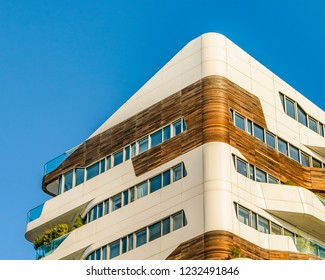 PIAMONTE, ITALY, JANUARY - 2018 - Exterior low angle shot contemporary modern apartment building at milan city life district