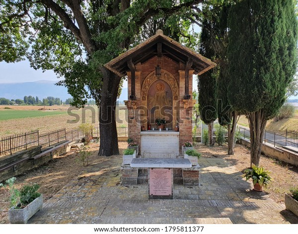 PIANDARCA, Italy - August 14 2020: Wayside shrine in the place where San Francesco d'Assisi preached to the birds.